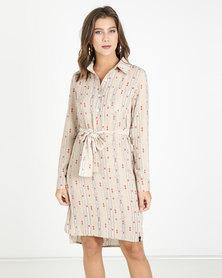 Crave Long Sleeve Shirt Dress With Belt Beige