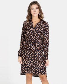 Crave Long Sleeve Shirt Dress With Belt Navy/Pink