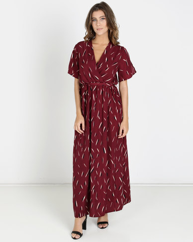Crave Maxi Dress With Open Shoulders Burgundy