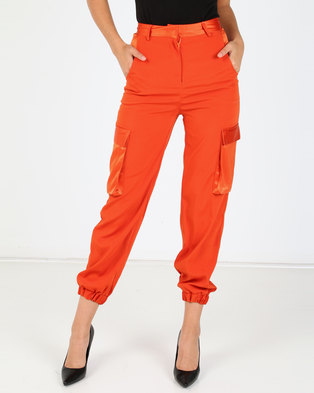London Hub Fashion Luxe Cargo Trousers Rust