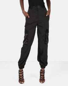 London Hub Fashion Luxe Cargo Trousers Black