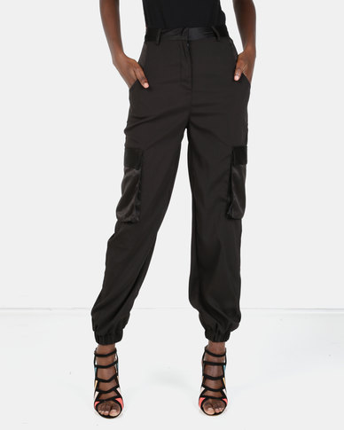 London Hub Fashion Luxe Cargo Trousers Black