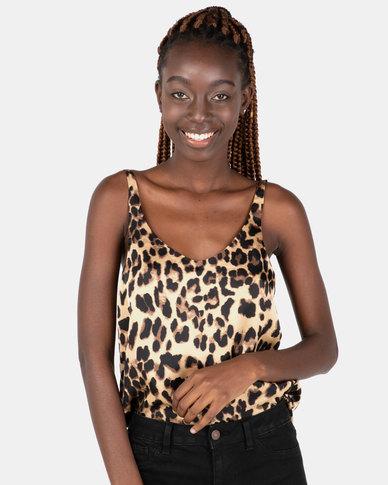 London Hub Fashion Cami Top New Gold Leopard