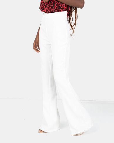 London Hub Fashion High Waist Kick Flare Trouser Ivory