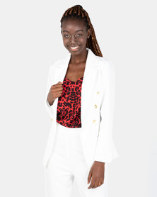 London Hub Fashion Double Breasted Blazer Ivory