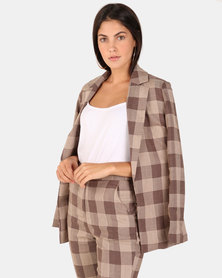 London Hub Fashion Check Boxy Blazer Jacket Brown