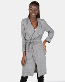 London Hub Fashion Long Lapel Loose Jacket Grey Check & Black
