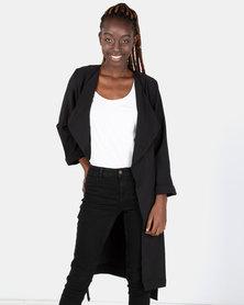 London Hub Fashion Long Lapel Loose Jacket Black