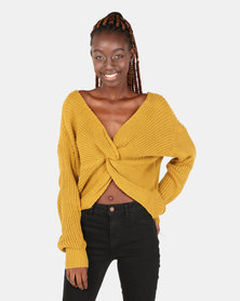 London Hub Fashion Knot Front Detail Jumper Mustard