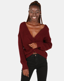 London Hub Fashion Knot Front Detail Jumper Wine