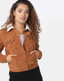 London Hub Fashion Baby Cord Shearling Lined Trucker Jacket Tan