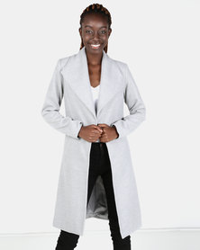 London Hub Fashion Longline Duster Coat Grey