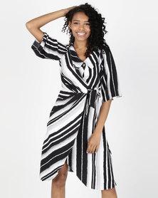 Closet London Wrap Stripe Dress Multi