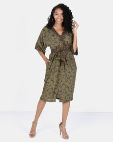 Closet London Detailed Midi Dress Green