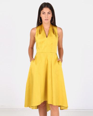 Closet London Hi Low Dress Yellow