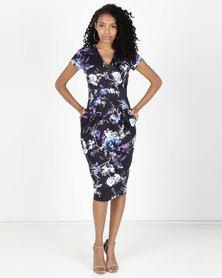 Closet London Floral Print Midi Dress Multi