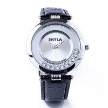 Skyla Jewels Black Diamante Ladies watch - Silver Face