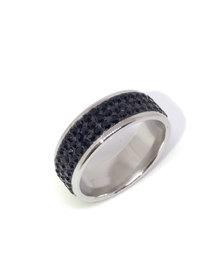 Skyla Jewels 3 Row Black Stainless Steel Ring