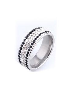 Skyla Jewels 4 Full Row Black & White Stainless Steel Ring