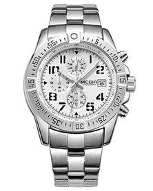 MEGIR 2030 Men's Stainless Steel Full Chronograph Watch - White Face