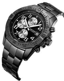 MEGIR 2030 Men's Stainless Steel Full Chronograph Watch - Black
