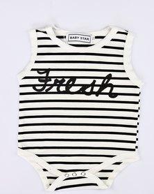 Your Baby Star Stripe Vest (Black Print)