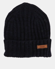 Jeep Knitted Chucky Knit Beanie Navy Melange