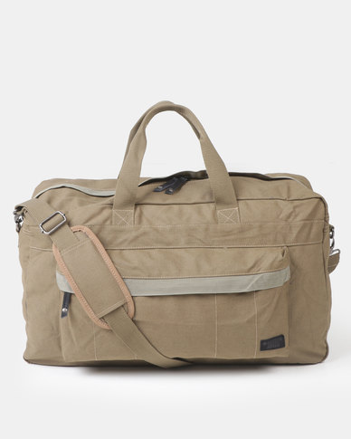 Jeep 26LTRS Canvas Travel pack with Leather Trim Fatigue