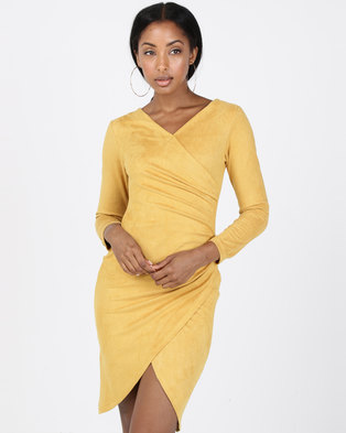 INFIN8TI Suede Yellow Dress