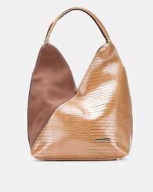 Blackcherry Bag Faux Croc and Suede Shoulder Bag Coffee
