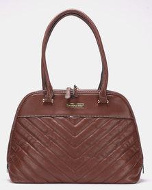 Blackcherry Bag Quilted Herringbone Stitch Shoulder Bag Coffee