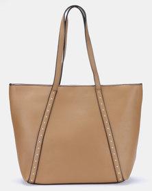 Blackcherry Bag Stud Detail Shopper Bag Tan/Gold