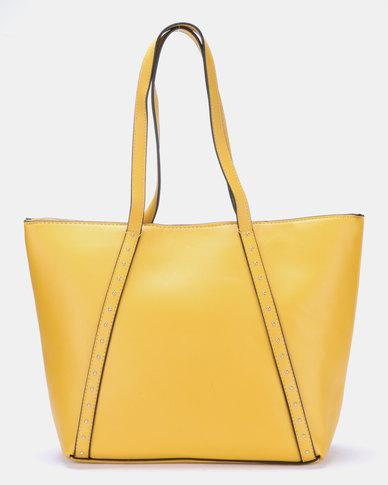 Blackcherry Bag Stud Detail Shopper Bag Mustard/Silver