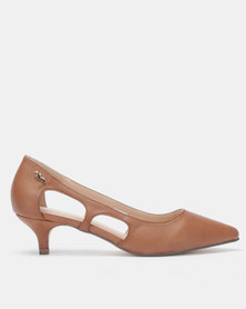 PLUM Lotta Pointy Kitten Heels Tan