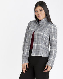Contempo Long Sleeve Jacket with Funnel Neck Black/White