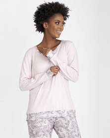 Contempo Pj Top with Contrast Pink