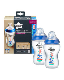 Tommee Tippee Closure To Nature 340ml 2 pack Decorated Boy Blue
