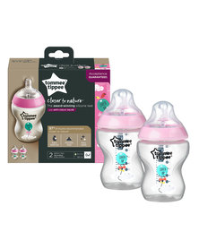 Tommee Tippee Closure To Nature 260ml Bottle - Decorated Girl Pink (2 Pack)