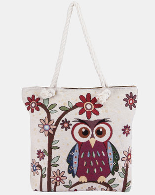 Razberry Kids Cute Owl Tapestry Print Beach Bag with Rope Handle