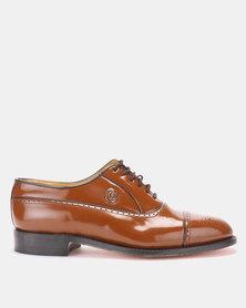 CROCKETT & JONES Goodyear Welted Toe Cap Lace-up Formal Shoe Cobbler Honey