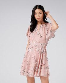 Forever New Venice Flutter Sleeve Dress Leopard Floral