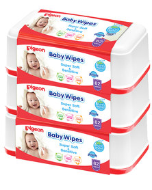 Pigeon Baby Wipes 82's With Chamrose Tub X3