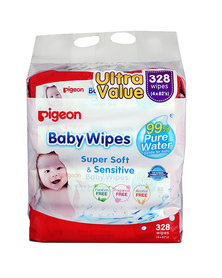 Pigeon Baby Wipes 82's 4-In-1 Refill Twin Pack