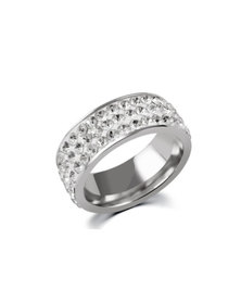 Skyla Jewels 3 Row White Stainless Steel Ring