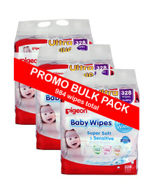 Pigeon Baby Wipes 82's 3 X 4-In-1 Refill Bulk Pack
