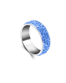 Skyla Jewels 3 Row Light Blue Stainless Steel Ring