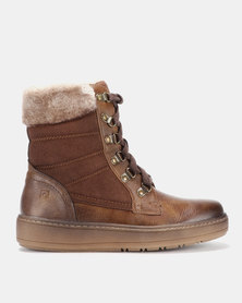Pierre Cardin Faux Fur Trim Outdoor Lace Up Boot Brown