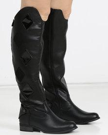 PLUM Velna Long Boot Black