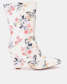 PLUM Floral Ankle Boot Light Grey