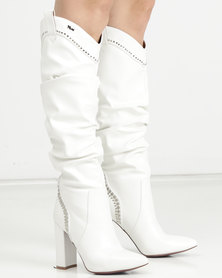 PLUM Block Heel Long Boot White